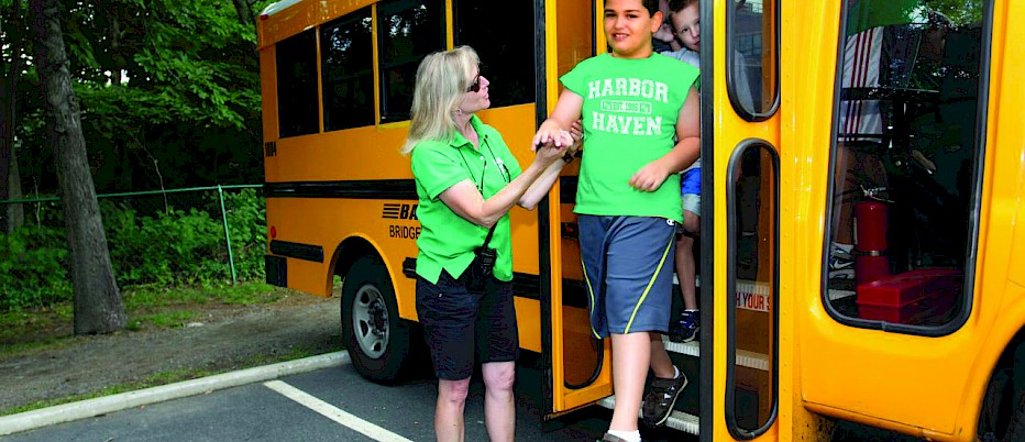 Taking the Harbor Haven bus to camp is really great!  I usually am running out the door as they pull up, but once I'm on I get to relax and enjoy the air-conditioned ride to camp.